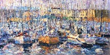 Cannes, Boats 2016 34x70 Original Painting by Vladimir Mukhin