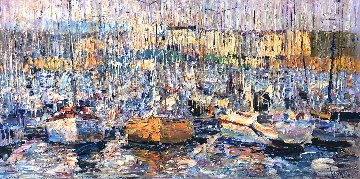 Cannes, Boats 2016 34x70 Original Painting by Vladimir Mukhin