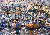 Cannes, Boats 2016 34x70 Super Huge Original Painting by Vladimir Mukhin - 2