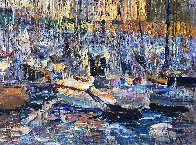 Cannes, Boats 2016 34x70 Super Huge Original Painting by Vladimir Mukhin - 4