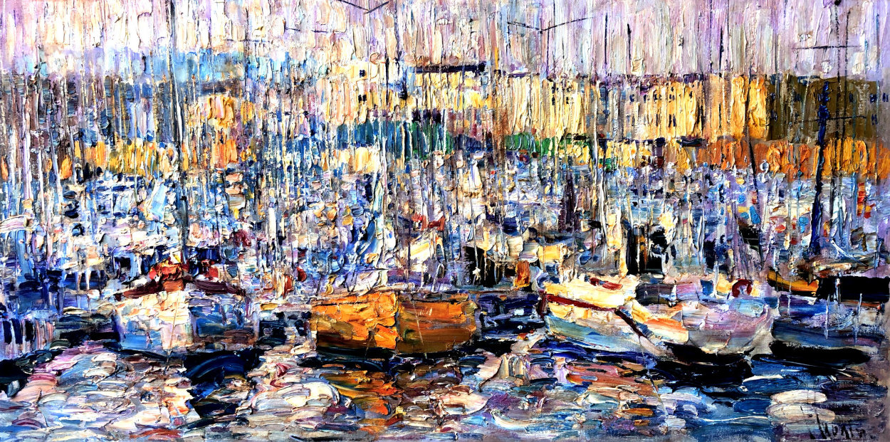 Cannes, Boats 2016 34x70 Super Huge Original Painting by Vladimir Mukhin