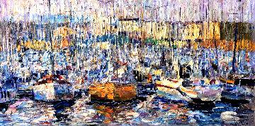 Cannes, Boats 2016 34x70 Original Painting - Vladimir Mukhin