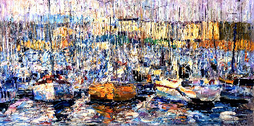 Cannes, Boats 2016 34x70 Super Huge Original Painting - Vladimir Mukhin