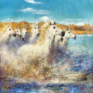 Run 2011 36x36 Original Painting by Vladimir Mukhin
