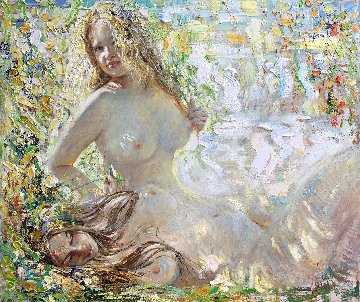 Sunflecks 2019 48x57 Original Painting - Vladimir Mukhin