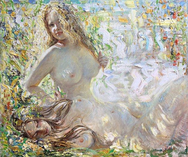 Sunflecks 2019 48x57 Original Painting by Vladimir Mukhin