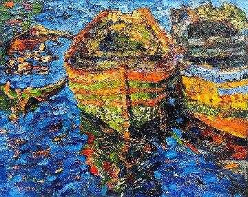 Boats in Morocco 2017 48x60 Original Painting - Vladimir Mukhin