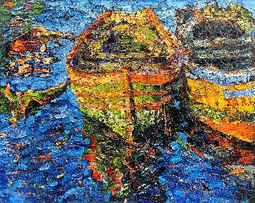 Boats in Morocco 2017 48x60 Super Huge  Original Painting - Vladimir Mukhin