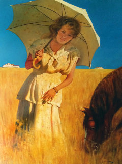 Girl on a Prairie 2006 56x46 Original Painting - Vladimir Mukhin