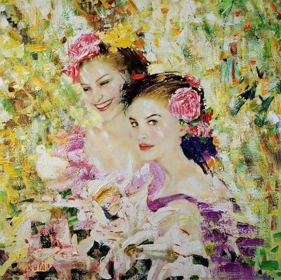 In the Garden 2012 39x39 Original Painting by Vladimir Mukhin
