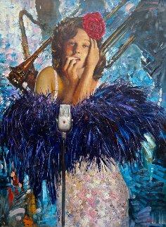 Jazz Singer 2014 48x36 Huge Original Painting - Vladimir Mukhin