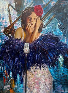 Jazz Singer 2014 48x36 Original Painting by Vladimir Mukhin