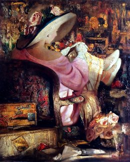 Young Traveler 2010 47x39 Original Painting - Vladimir Mukhin