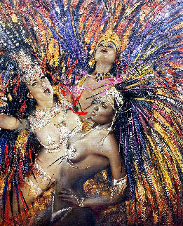 Rio Carnival 2011 54x46 Huge Original Painting - Vladimir Mukhin