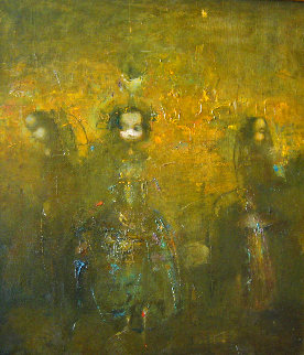 Untitled Painting 1992 20x15 Original Painting - Vachagan Narazyan