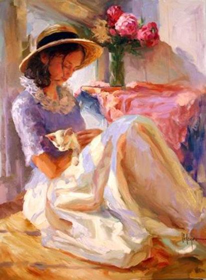 Pink Peonies 2005 40x30 Original Painting by Vladimir Volegov