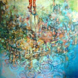 Out of Florence Under Yellow Umbrella 2018 48x48 Super Huge Original Painting -  Voytek
