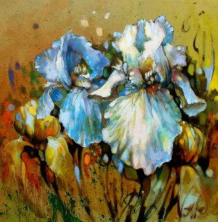 Marta's Garden - Iris Story 2019 36x36 Original Painting by  Voytek