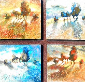 One Winter Night, 4 Panels 37x37 Original Painting -  Voytek