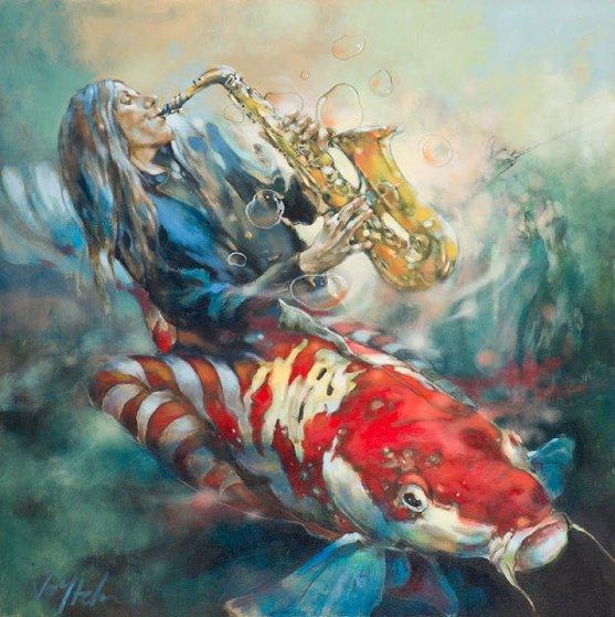 Muted Symphony-Opus III 2015 40x40 Original Painting by  Voytek