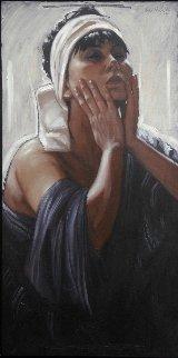 Portrait of a Woman 2007 39x19 Original Painting - Nico Vrielink