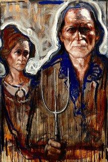 American Farmer Couple 2017 59x39 Original Painting - Nico Vrielink