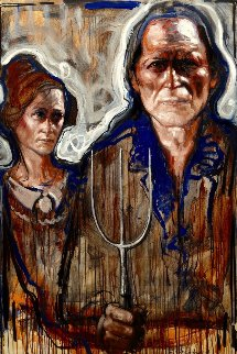 American Farmer Couple 2017 59x39 Huge Original Painting - Nico Vrielink