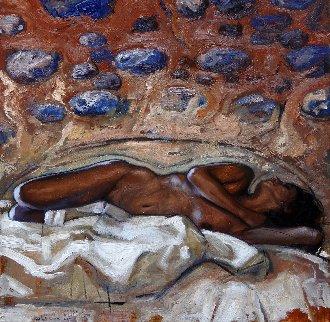 Reclining Nude 2017 23x23 Original Painting - Nico Vrielink