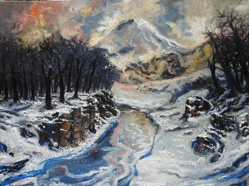 Snow in the Mountains 2016 59x78 Huge Original Painting - Nico Vrielink