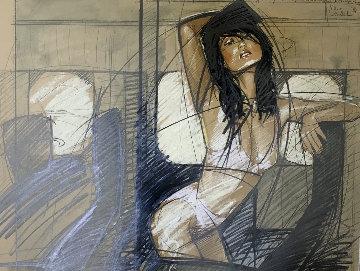 2 Feb. Departure to Singapore / Perth / Melbourne / Bangkok 1989 28x34 Original Painting - Nico Vrielink