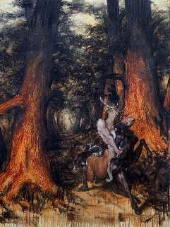 Cernunnos Hunted By Dogs in the Old Celtic Forests 2018 78x59 Huge Original Painting - Nico Vrielink