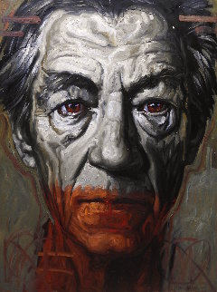 Portrait of Sir Ian 2018 78x59 Super Huge Original Painting - Nico Vrielink
