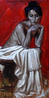 Seated Woman 2018 39x19 Original Painting - Nico Vrielink