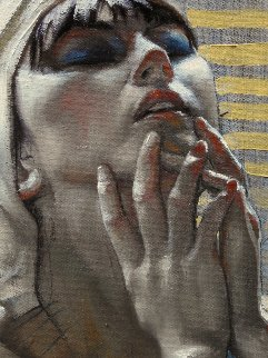 Woman With White Scarf 2018 18x11 Original Painting - Nico Vrielink