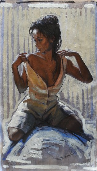 Woman Undressing Herself 2018 31x18 Original Painting by Nico Vrielink
