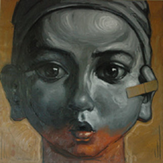 Boy Who Didn't Want to Hear with his Left Ear 47x47  Huge Original Painting - Nico Vrielink