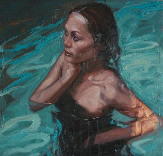 Tina (Swimming)  '25x23 Original Painting - Nico Vrielink