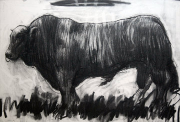 Bull Charcoal on paper 2013 27x39 Drawing - Nico Vrielink