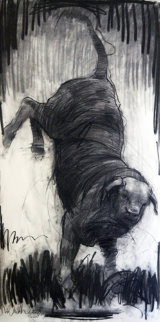 Riding Bull 2013 78x39 Drawing - Nico Vrielink