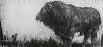 Bull Charcoal 2013 15x32 Drawing by Nico Vrielink