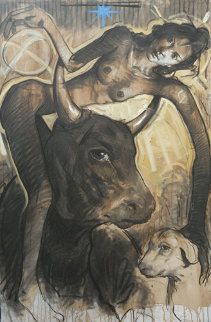 Untruthful Dog Was Caught in the Neck While He Was Carrying Her As A  Feather 2012  59x39 Original Painting by Nico Vrielink