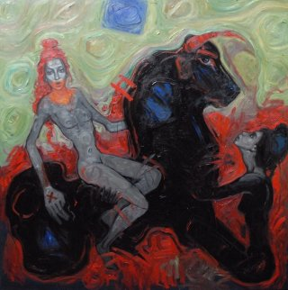 My Woman And Me Under the Square Blue Moon 2012  78x78 Original Painting - Nico Vrielink