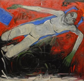 Floating Woman in the Red Sea (Part 2) 2012  78x78 Original Painting - Nico Vrielink