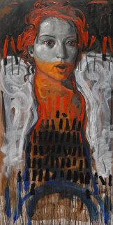 Portrait of a Woman 2011 78x39 Original Painting - Nico Vrielink