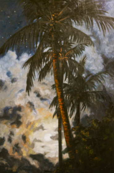 Moonlight View From My Garden in Bali/Indonesia  2013 59x39 Original Painting by Nico Vrielink