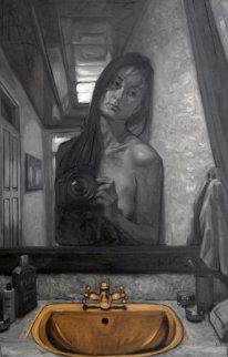 Self-Portrait in the Bathroom 2009 59x39  Huge Original Painting - Nico Vrielink