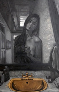 Self-Portrait in the Bathroom 2009 59x39 Original Painting by Nico Vrielink