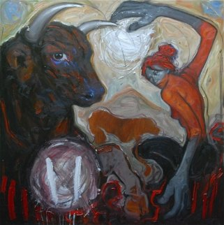 Heart of the Bull Was Touched And the Empty Dog Continued His Way 47x47  Original Painting - Nico Vrielink