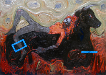 Me And My Girl 2011 59x78 Huge Original Painting - Nico Vrielink