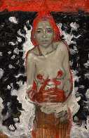 Woman With Her Flowers in the Secret Forest 2012 39x25 Original Painting by Nico Vrielink - 3